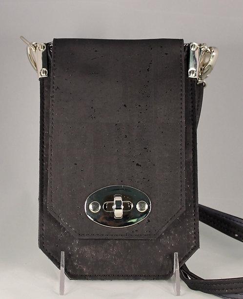 Cell Phone Cross Body Handbag - Black & Charcoal Grey
