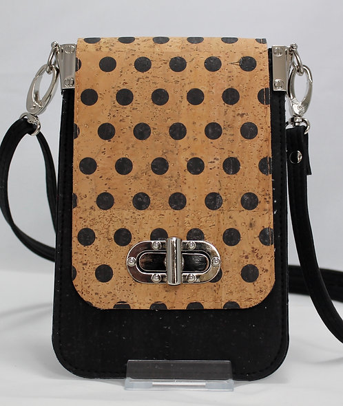 Cell Phone Cross Body Handbag -Black Polka Dots