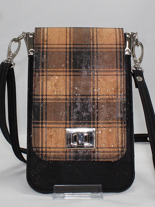 Cell Phone Cross Body Handbag - Black Plaid