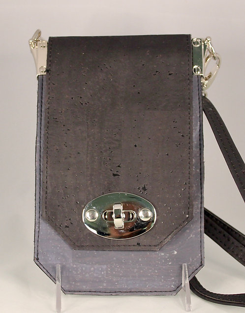 Cell Phone Cross Body Handbag -  Charcoal Grey & Black