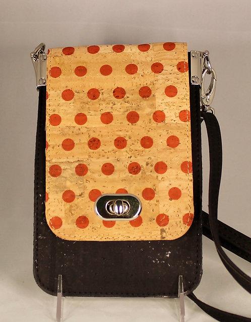 Cell Phone Cross Body Handbag - Black & Red Polka Dots