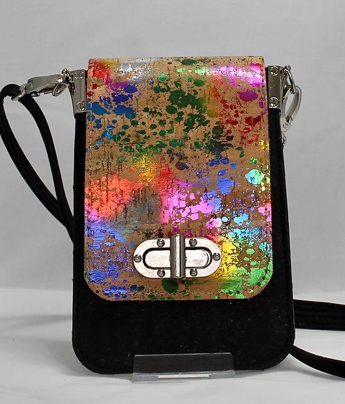 Cell Phone Cross Body Handbag -Rainbow Shimmer & Black