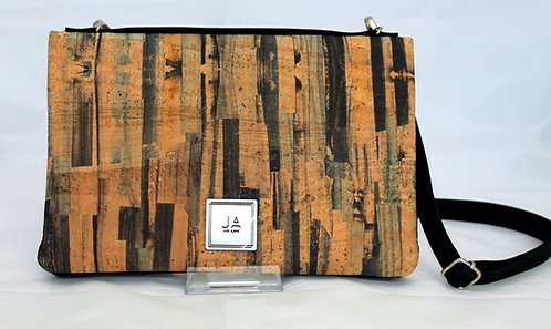 2-In-1 Crossbody Handbag -Blues & Natural Brush Strokes & Black