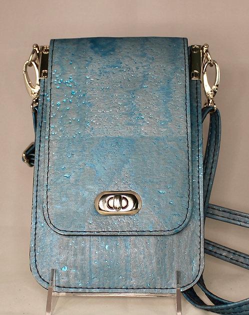 Cell Phone Cross Body Handbag - Aqua Shimmer