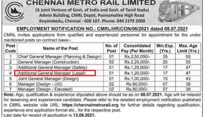 JOB POST : AGM (Legal) at Chennai Metro Rail Limited.