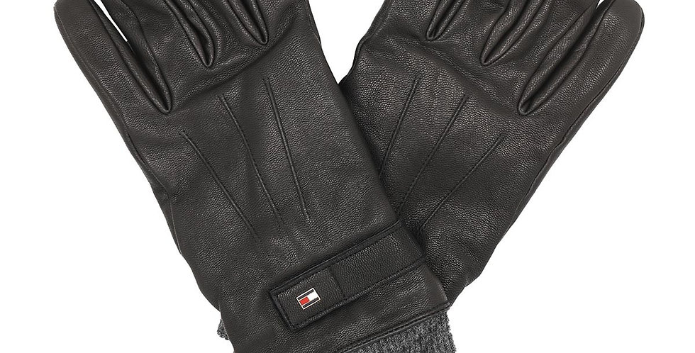 TOMMY HILFIGER ELEVATED FLAG LEATHER MIX GLOVES AM0AM06589-BDS