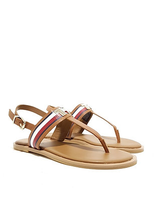 TOMMY HILFIGER CORPORATE LEATHER FLAT SANDAL FW0FW04840-G49