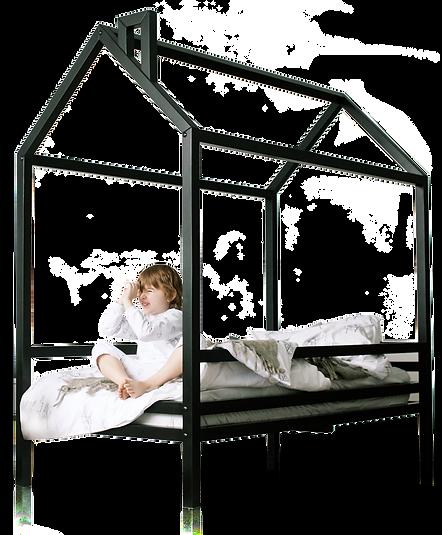 Кровать домик чёрная