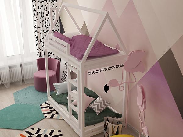 двухъярусная кровать домик для детей