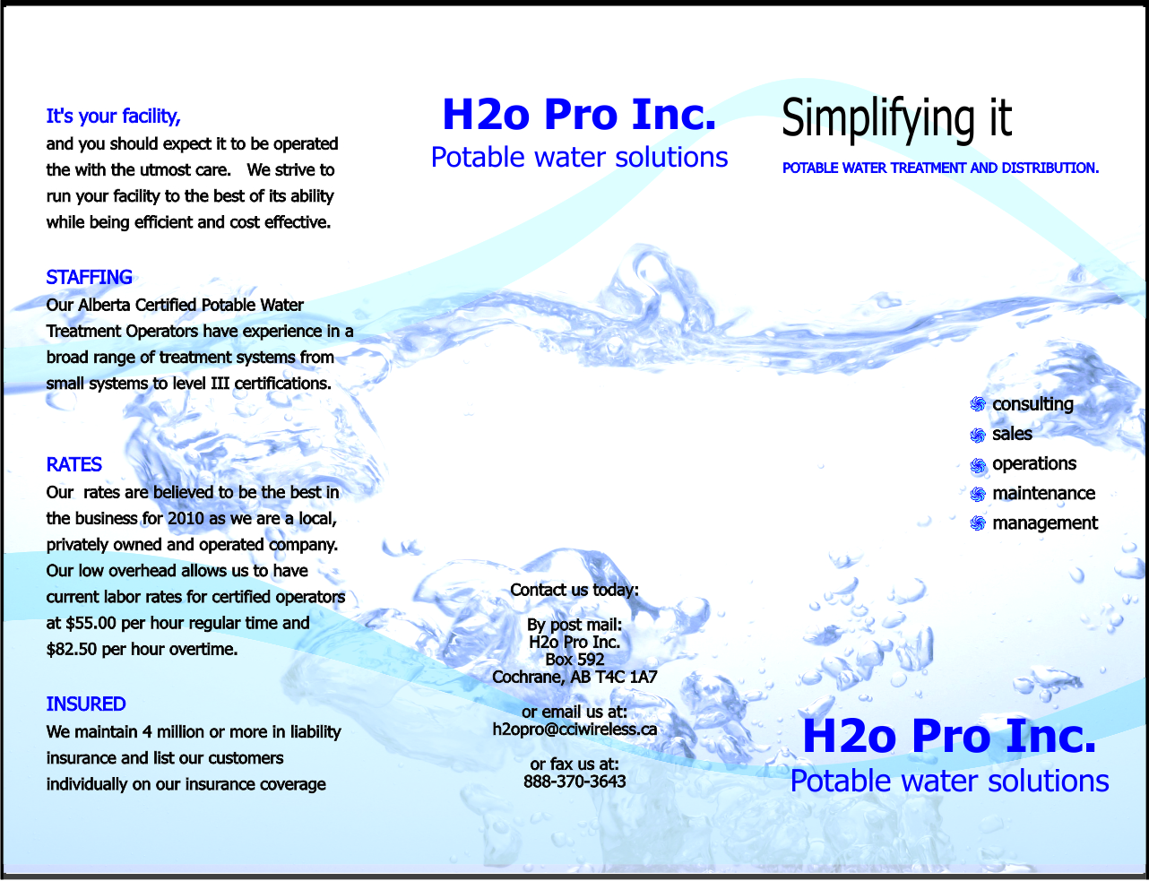 H2o Pro Inc. - Front