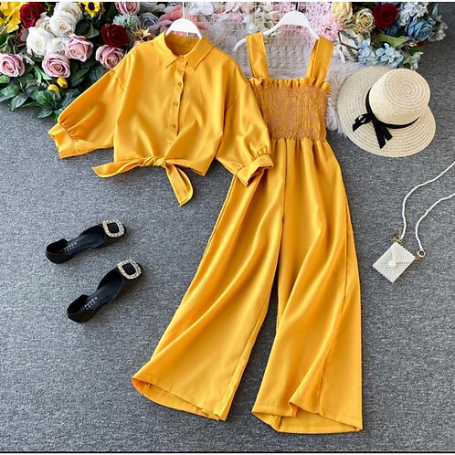 Yellow Flared Jumpsuit with Shirt