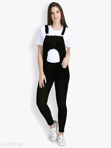 Women's Black Dungaree