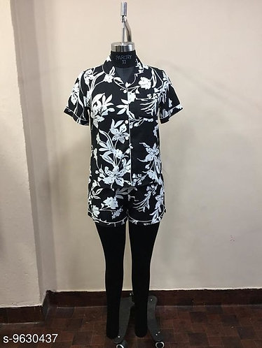 Floral printed rayon short night suit