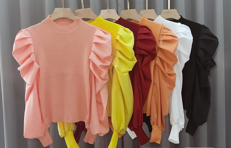 Mutton-Sleeved Ribbed Top
