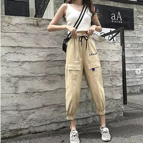 High Waisted Pencil Joggers in Tan