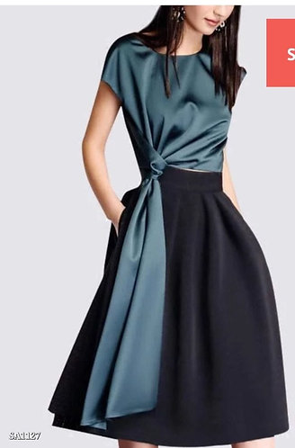 Designer silk knot top and skirt