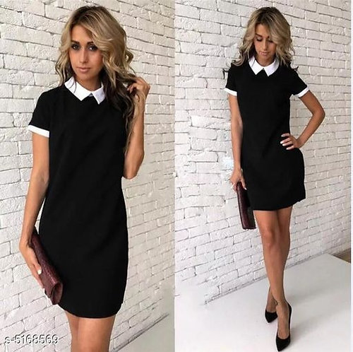 Solid Collared T-shirt Dress
