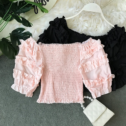 Smocked Top with Ruffle Sleeves