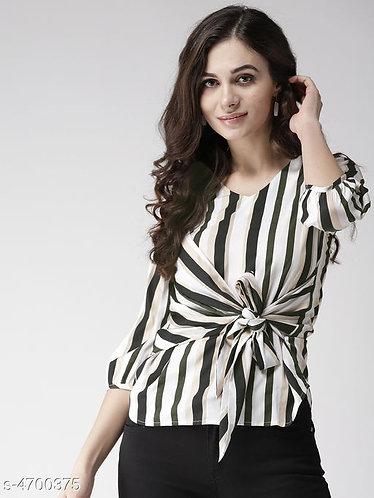 Striped Top with Front Knot