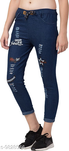 Graphic jogger jeans for women