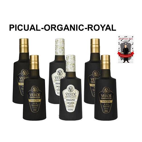Surtido de Aceites Verde Esmeralda Picual, Royal y Organic