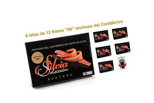 """Anchoas del Cantábrico Doble Cero """"00"""" SILVIA SELECCION 6 latas"""