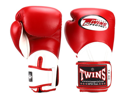 TWINS SPECIAL MUAY THAI GLOVES - BGVL11(RED/WHITE) 10ozs