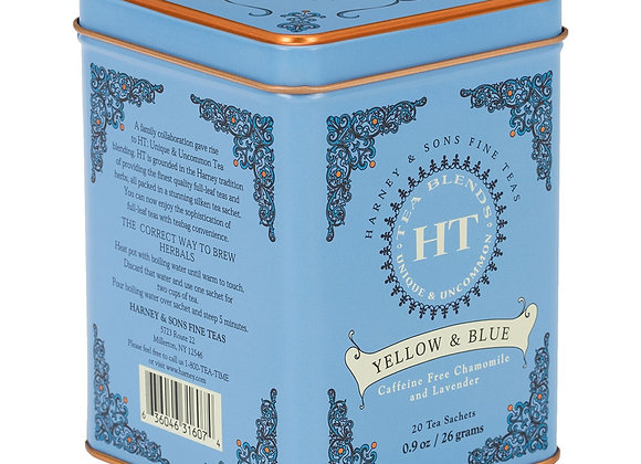 Harney & Sons Yellow & Blue Herbal Tea 20 Bags in Tin