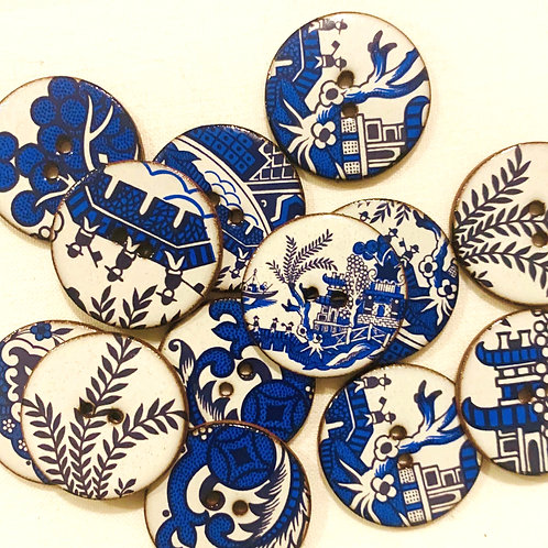 Willow Pattern Ceramic buttons - Large circular
