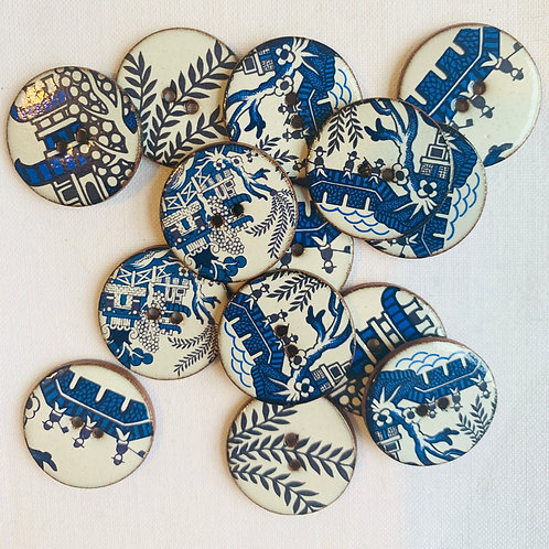 Willow Pattern Ceramic buttons -Circular Small