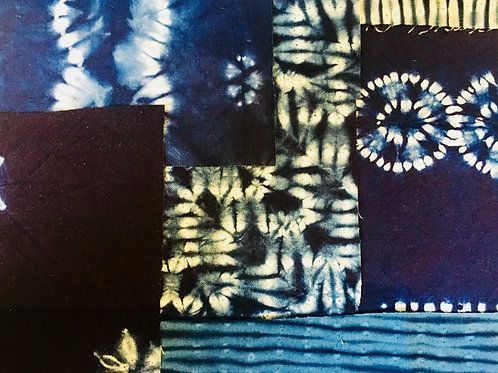 Chinese Shibori Indigo Cotton Fabric - Scrap bag