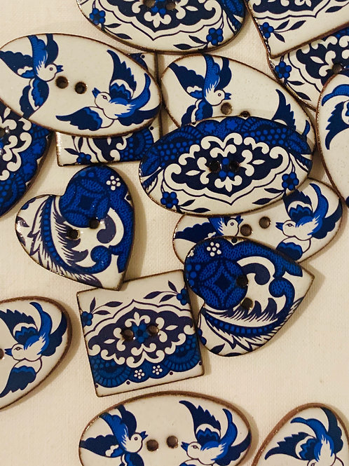Willow Pattern Ceramic buttons - Shaped