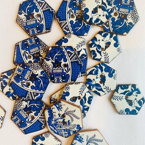 Willow Pattern Ceramic buttons - Hexagonal