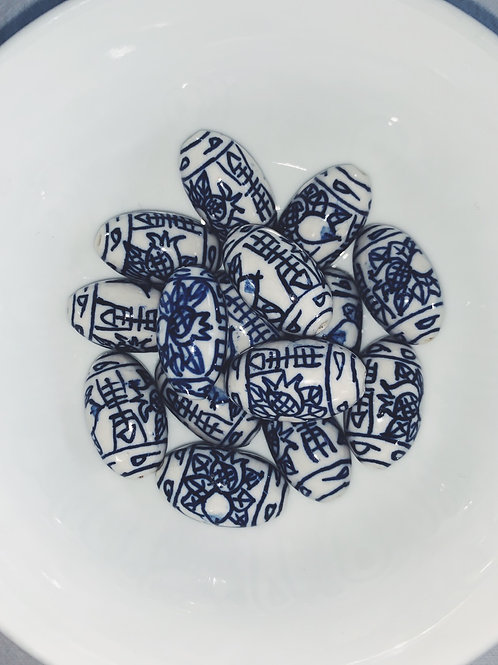 Chinese ceramic beads -Oval