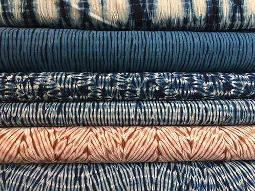 Stripes collection - Chinese Shibori Indigo Cotton Fabric - per metre