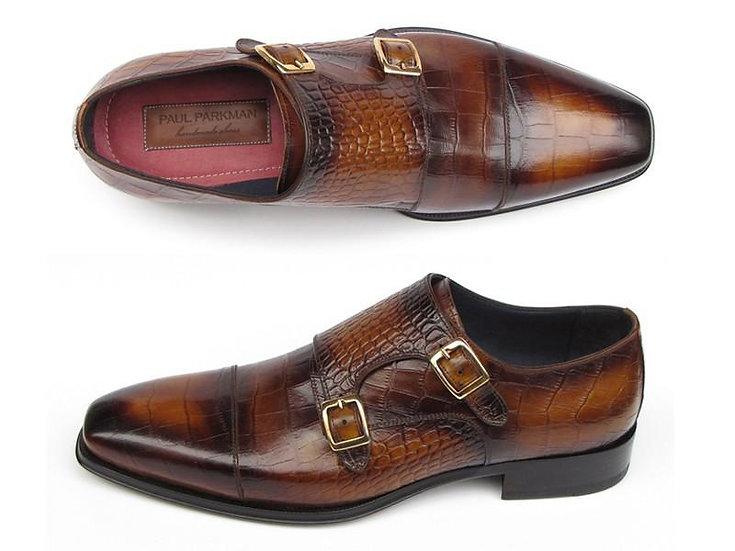 Paul Parkman Men's Handmade  Double Monkstrap Shoes