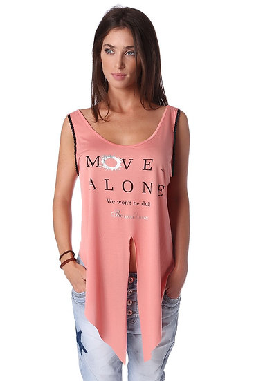 Coral Tank Top With Center Split