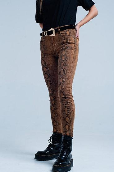 Snake Print Skinny Pants