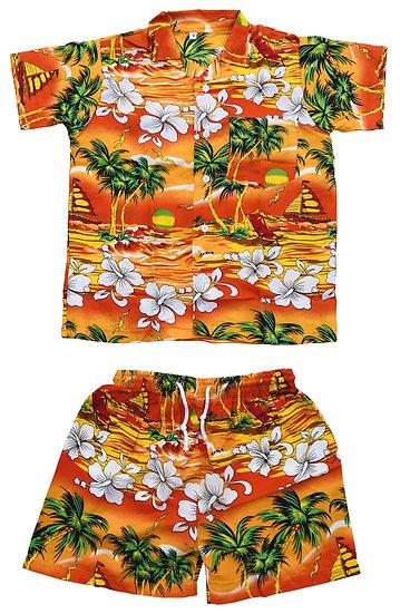 Kids Short Sleeve Casual Hawaiian Shirt and Shorts Set
