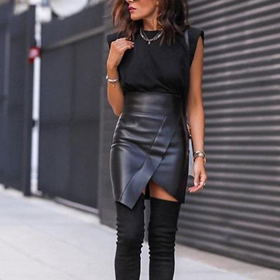 Faux Leather Designer Mini Skirt
