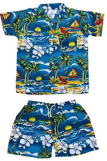 Kids Casual Floral Hawaiian Shirts and Shorts Set