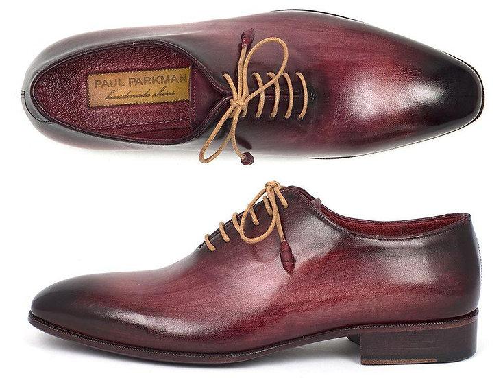 Paul Parkman Men's Burgundy Wholecut Plain Toe Oxford  Shoes