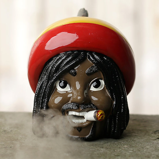 Rasta Backflow Incense Burner - With 1 Free choice of 3 Incense Cones Packs