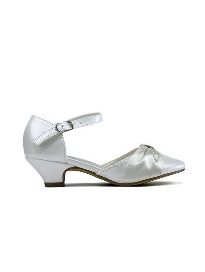 Girl's Ivory Satin Kitten Heel Shoe