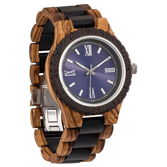 Handcrafted Engraving Zebra & Ebony Wood Watch