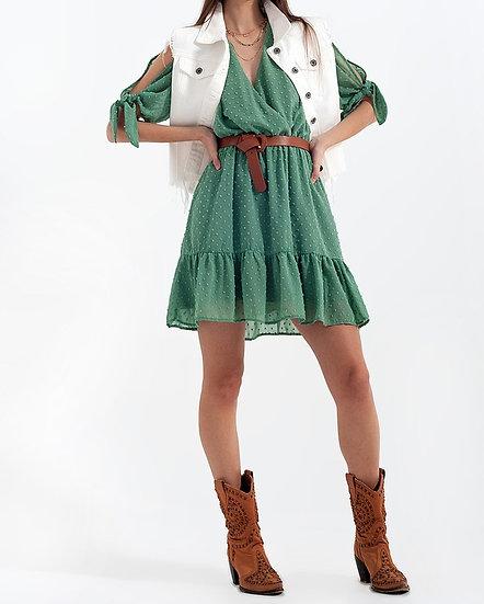 Designer Tie Sleeve Summer Mini Dress