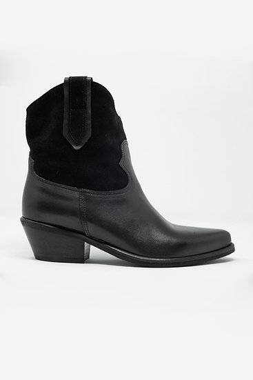 Black Western Sock Boots With Suede Detail