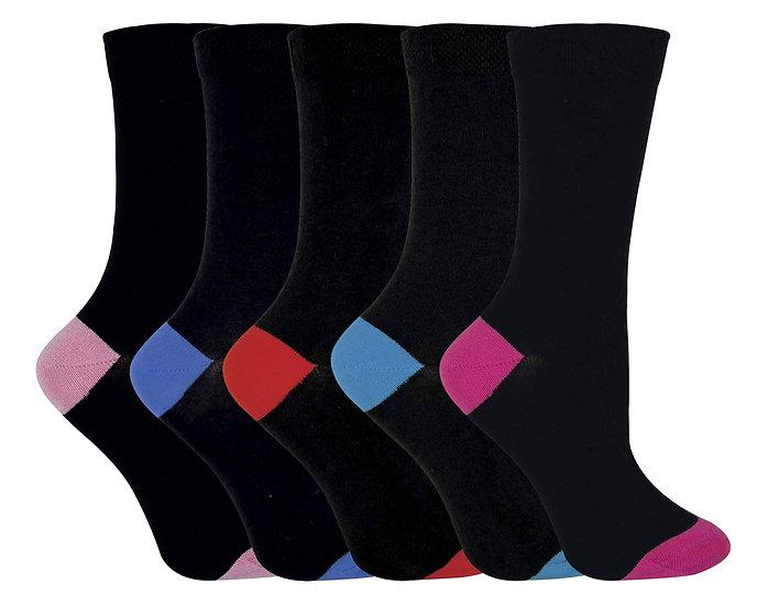 Ladies Soft Top Coloured Heel & Toe Socks