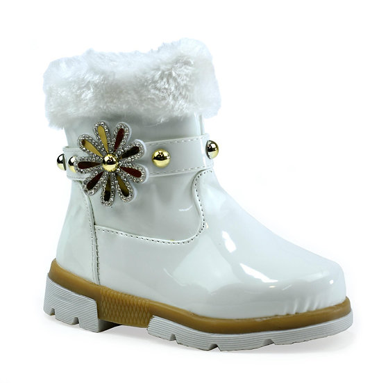 Girl's White Faux Fur Flower Ankle Boots