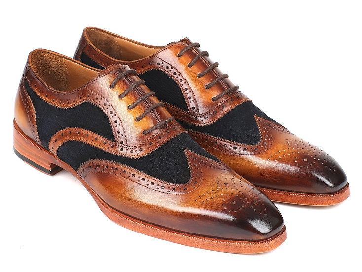 Paul Parkman Brown Leather & Navy Suede Wingtip Oxford Shoes